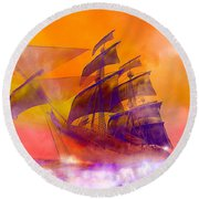 The Flying Dutchman Ghost Ship Round Beach Towel