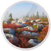 The Fog Clears At Dolly Sods Round Beach Towel