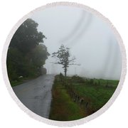 The Fog Of Road Round Beach Towel