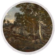 The Forest Of Fontainebleau Round Beach Towel