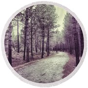 The Forest Road Retro Round Beach Towel