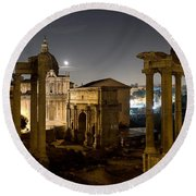 The Forum Temples At Night Round Beach Towel