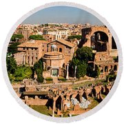 The Forum From The Palatine Round Beach Towel