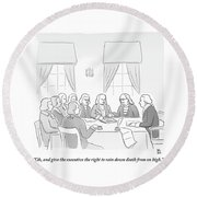 The Founding Fathers Drafting The Constitution Round Beach Towel by Paul Noth