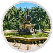 The Fountain - Iconic Fountain At The Huntington Library. Round Beach Towel