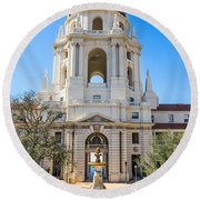 The Fountain - The Beautiful Pasadena City Hall. Round Beach Towel