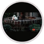 The Fountain And The Teapot Round Beach Towel