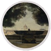 The Fountain Of The French Academy In Rome, 1826-27 Oil On Canvas Round Beach Towel