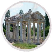 The Four Roman Columns Of The Ceremonial Gateway  Round Beach Towel