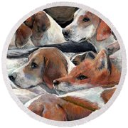 Fox Play Round Beach Towel