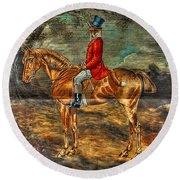 The Fox Hunt With Light Antique Store Mural Griffin Georgia Art Round Beach Towel