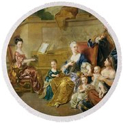 The Franqueville Family, 1711 Oil On Canvas Round Beach Towel