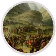 The French Army Travelling Over The St. Bernard Pass At Bourg St. Pierre, 20th May 1800, 1806 Oil Round Beach Towel