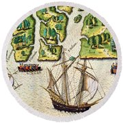 The French Discvoer Six More Rivers Round Beach Towel
