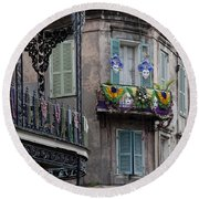 The French Quarter During Mardi Gras Round Beach Towel