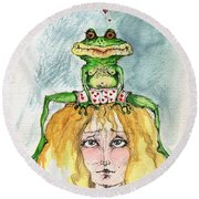 The Frog And The Princess Round Beach Towel
