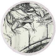 The Frogs And The Well Round Beach Towel