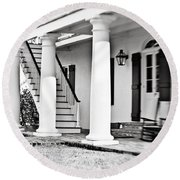 The Front Porch - Bw Round Beach Towel