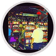 The Gambler Meets The One Armed Bandit In Casino Royale Standoff At High Noon Urban Casino Art Scene Round Beach Towel