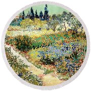 The Garden At Arles, 1888 Round Beach Towel