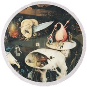 The Garden Of Earthly Delights Hell, Right Wing Of Triptych, C.1500 Oil On Panel See 322, 3425 Round Beach Towel