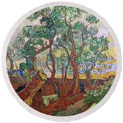 The Garden Of St Pauls Hospital At St. Remy Round Beach Towel by Vincent Van Gogh