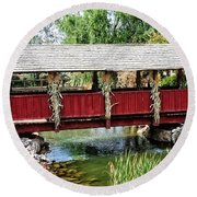 The Gardner Villiage Bridge Round Beach Towel