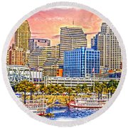 The Garish City Cincinnati Round Beach Towel