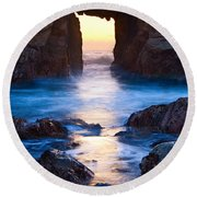The Gateway - Sunset On Arch Rock In Pfeiffer Beach Big Sur In California. Round Beach Towel by Jamie Pham