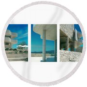 The Getty Triptych Round Beach Towel