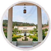 The Getty Villa Main Courtyard View From Covered Walkway. Round Beach Towel