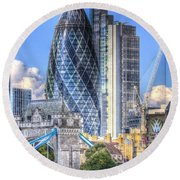 The Gherkin And Tower Bridge Round Beach Towel