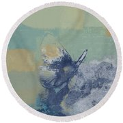 The Giant Butterfly And The Moon - J216094206-c09a Round Beach Towel by Variance Collections