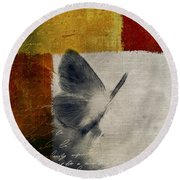 The Giant Butterfly And The Moon - S09-22cbrt Round Beach Towel