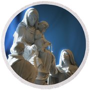The Gift Of The Rosaries Statue Round Beach Towel