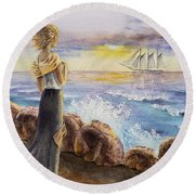 The Girl And The Ocean Round Beach Towel