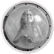 The Girl In The Bubble Round Beach Towel