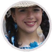The Girl With The Panama Hat Round Beach Towel