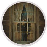 The Girl In The Window  Round Beach Towel
