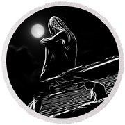 The Girl On The Roof Round Beach Towel