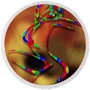 The Girl With Kaleidoscope Lines Round Beach Towel
