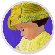 The Girl With The Straw Hat Round Beach Towel