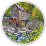 The Glade Grist Mill Round Beach Towel