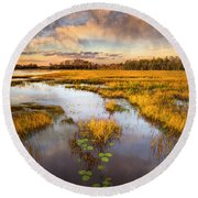 The Glades At Sunset Round Beach Towel