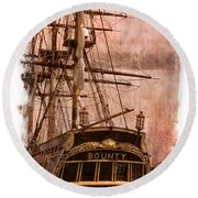 The Gleaming Hull Of The Hms Bounty Round Beach Towel