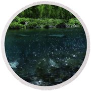 The Glimmer Of Maroon Lake Round Beach Towel