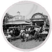 The Goat Carriages Coney Island 1900 Round Beach Towel