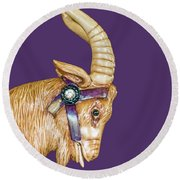The Goat Who Likes Purple Round Beach Towel