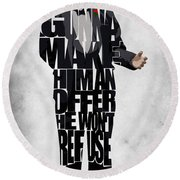 The Godfather Inspired Don Vito Corleone Typography Artwork Round Beach Towel by Ayse Deniz