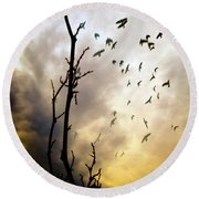 The Gods Laugh When The Winter Crows Fly Round Beach Towel by Bob Orsillo